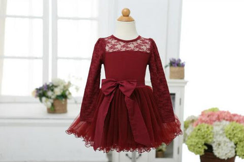 """PAYSON""  Maroon Lace Tulle Dress"
