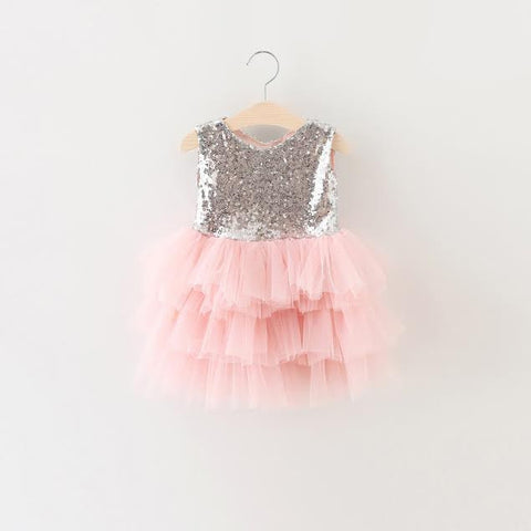 """BRONYWN"" Light Pink Tulle and Silver Sparkles Dress"