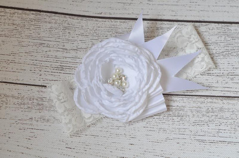 "White ""JERA"" Flower Couture Headband"