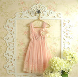 """AVERY"" Pink Lace and Tulle Dress with Removable Brooch"