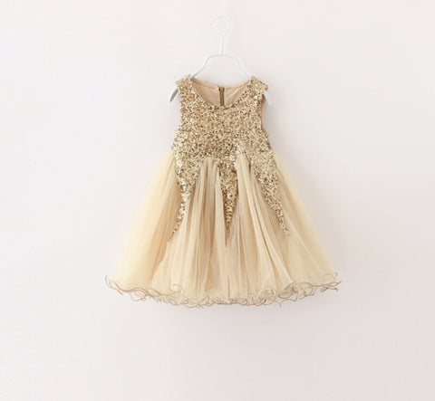 """AVALEE"" Gold Sequin Tulle Dress"