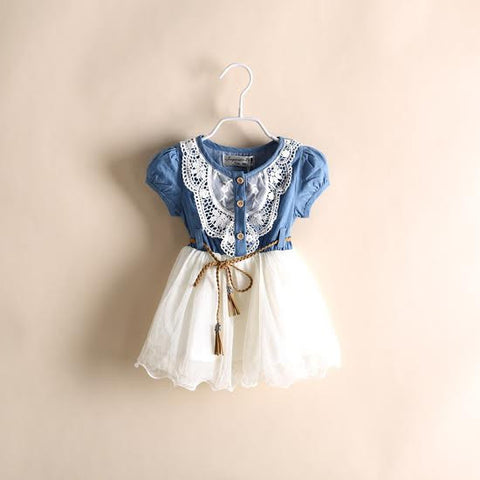 """COUNTRY GIRL"" Denim and Lace Dress with Belt"