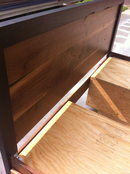 Modern Sappy Walnut King Platform Bed w/ four drawers