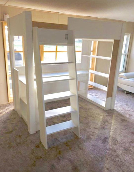 Kids Loft Bed with Desk, Bookcases, Drawer & Corkboard