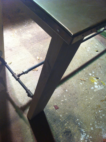Zinc and Pipe industrial table