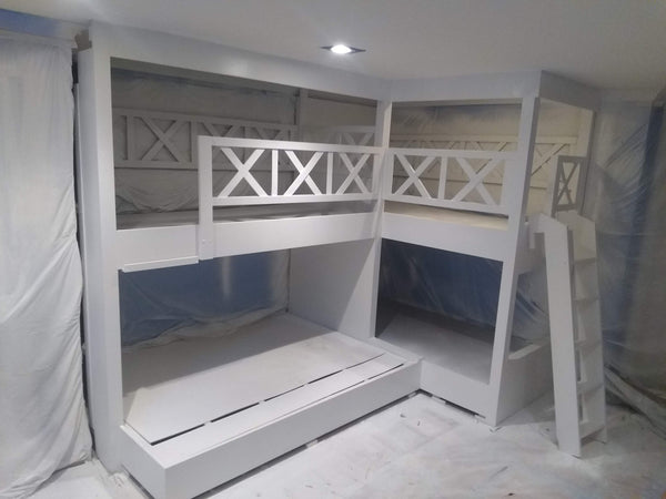 "Denver quad bunk beds, adult ""L"" quad bunk beds"