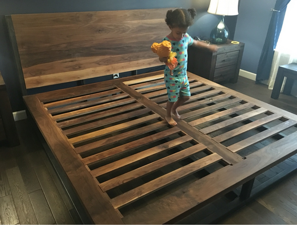King size West Walnut Bed, Industrial bed