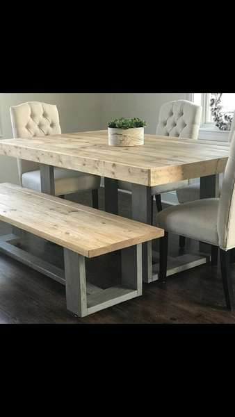 Diona's custom rustic table and bench