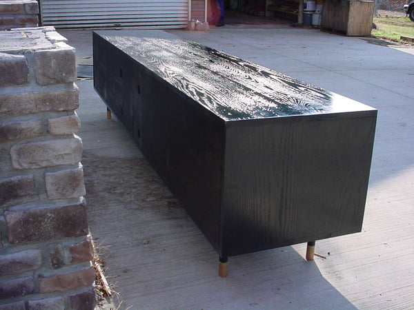 Black Hardwood 7' Tv console, buffet table,