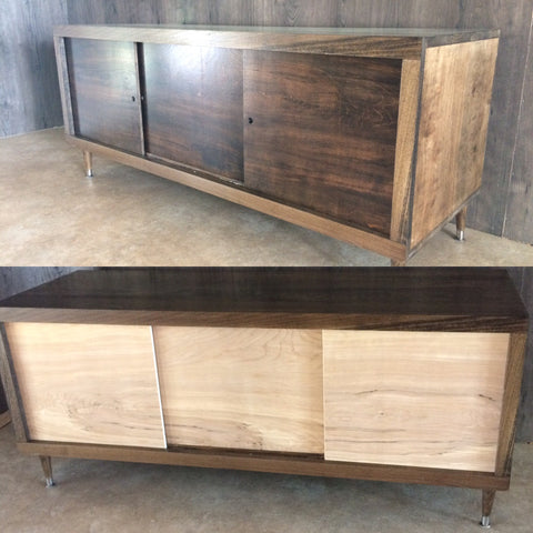 Walnut Hardwood 5' Tv console, buffet table, modern mid century