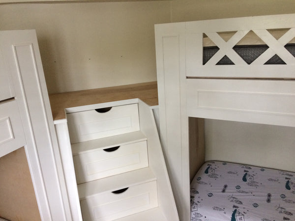 "Twin ""L"" quad bunk beds"