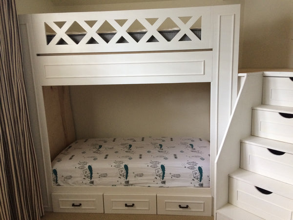 "Naples bunk beds, adult ""L"" quad bunk beds"