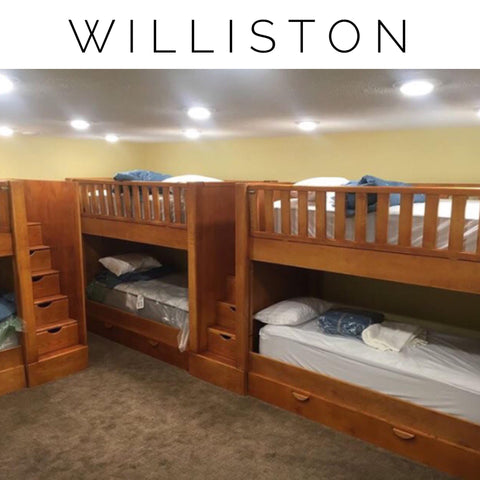 Williston Adult or Child Quad Bunks, Drop Down Front Safety Rail