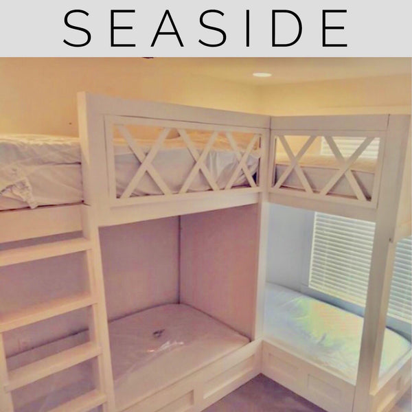 Seaside Twin Quot L Quot Quad Bunk Beds Thestocktonmill