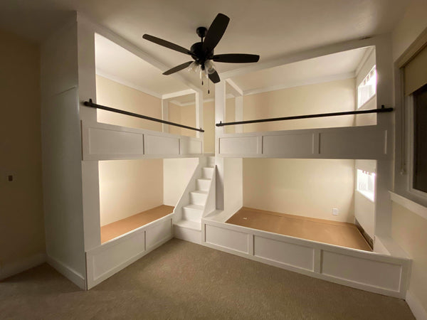 "Elegant quad bunk beds, adult ""L"" quad bunk beds"