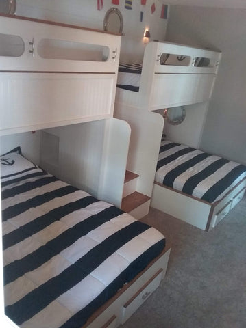 Nautical quad bunk beds, wall to wall quad bunk beds
