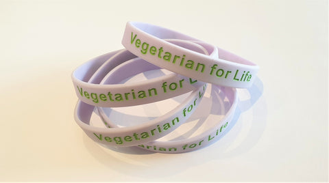 "Silicone Wristband - ""Vegetarian for Life"""