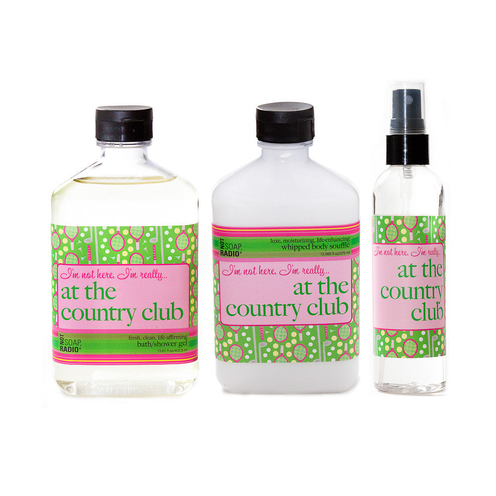 I'm not here, I'm really...at the country club: bath/shower gel, body souffle & dry oil perfume - Not Soap Radio Trio