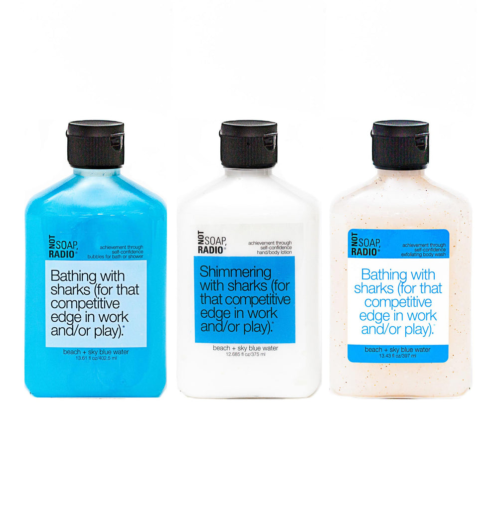 Trio: Bathing with sharks: bubbles for bath/shower, hand/body lotion and exfoliating body wash - Not Soap Radio Trio