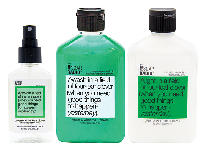 Hero bundle / gift set: detox + hydrate fragrance, bath/shower gel, hand/body lotion in Awash in a field of four leaf clover…