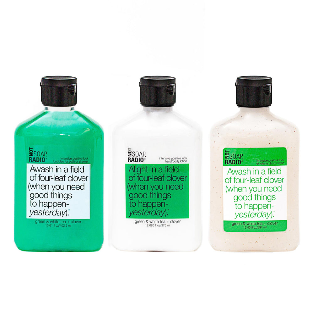 Trio: Awash in a field of four-leaf clover: bubbles for bath/shower, hand/body lotion and exfoliating body wash - Not Soap Radio Trio