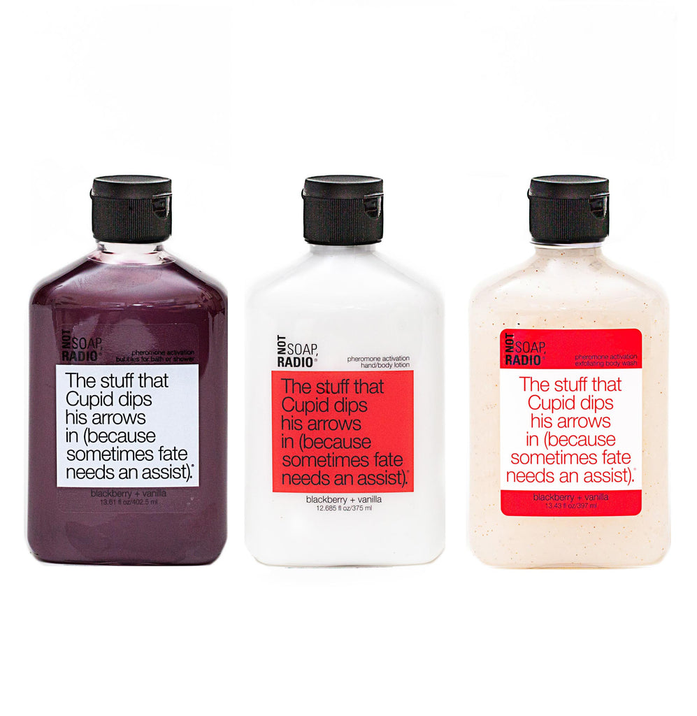 Trio: The stuff that Cupid dips his arrows in: bubbles for bath/shower, hand/body lotion and exfoliating body wash