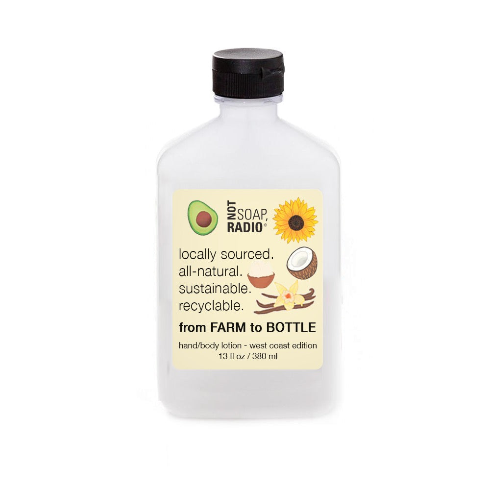 Farm to bottle body lotion - west coast edition - Not Soap Radio