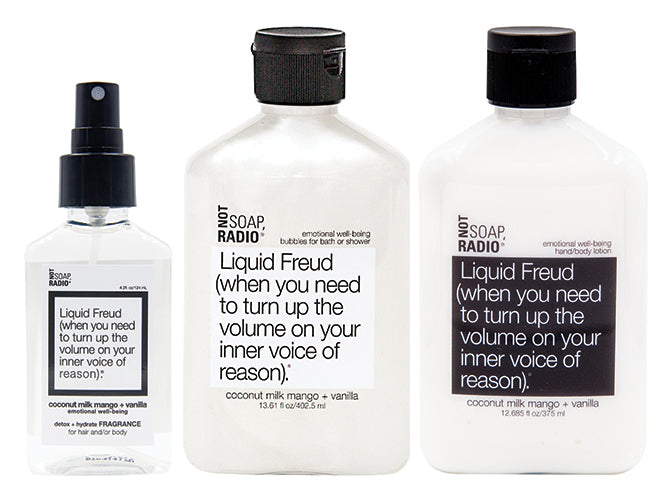 Hero bundle / gift set: detox + hydrate fragrance, bath/shower gel, hand/body lotion in Liquid Freud…