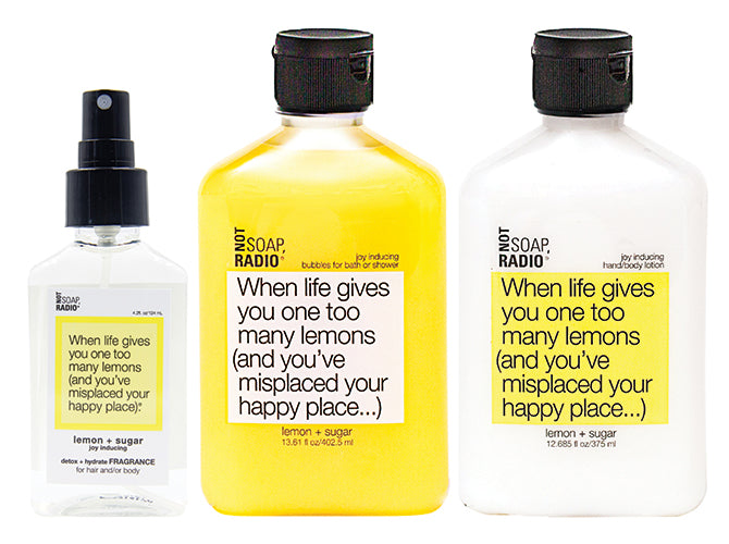 Hero bundle / gift set: detox + hydrate fragrance, bath/shower gel, hand/body lotion in When life gives you one too many lemons… - Not Soap Radio Hero bundle