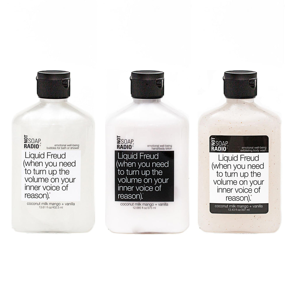 Trio: Liquid Freud: bubbles for bath/shower, hand/body lotion and exfoliating body wash - Not Soap Radio Trio