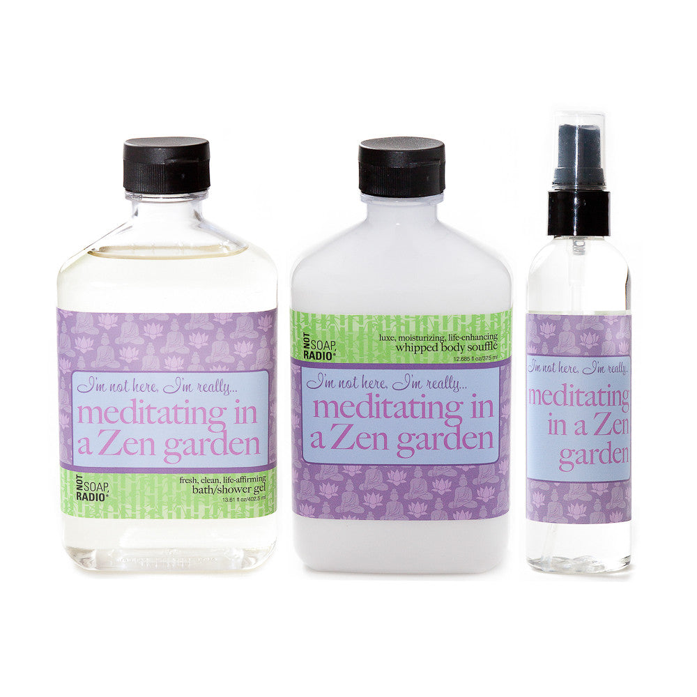 I'm not here, I'm really...meditating in a zen garden: bath/shower gel, body souffle & dry oil perfume - Not Soap Radio Trio