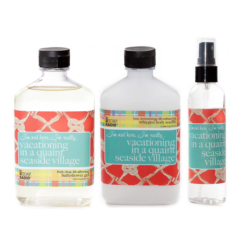 I'm not here, I'm really... vacationing in a quaint seaside village: bath/shower gel, body souffle & dry oil perfume - Not Soap Radio Trio