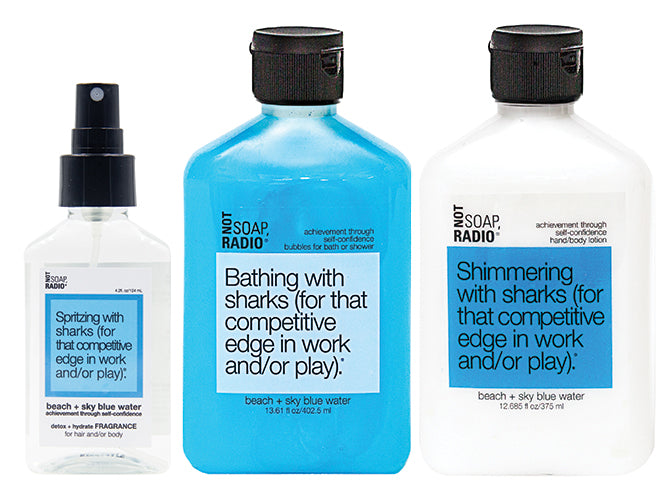 Hero bundle / gift set: detox + hydrate fragrance, bath/shower gel, hand/body lotion in Bathing with sharks… - Not Soap Radio Hero bundle
