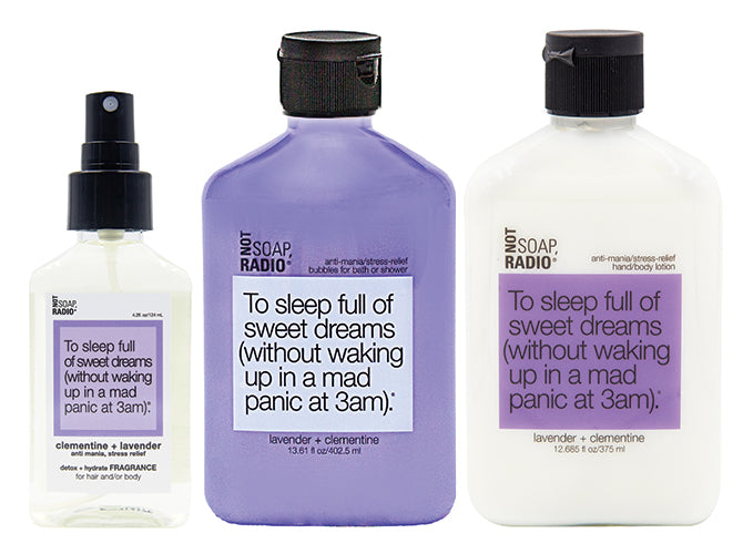 Hero bundle / gift set: detox + hydrate fragrance, bath/shower gel, hand/body lotion in To sleep full of sweet dreams… - Not Soap Radio Hero bundle