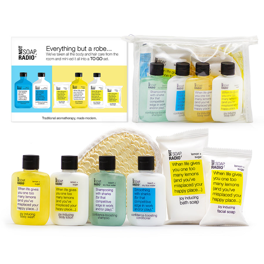 Everything but the robe...hotel amenity gift set. Hair care/body care to go. - Not Soap Radio