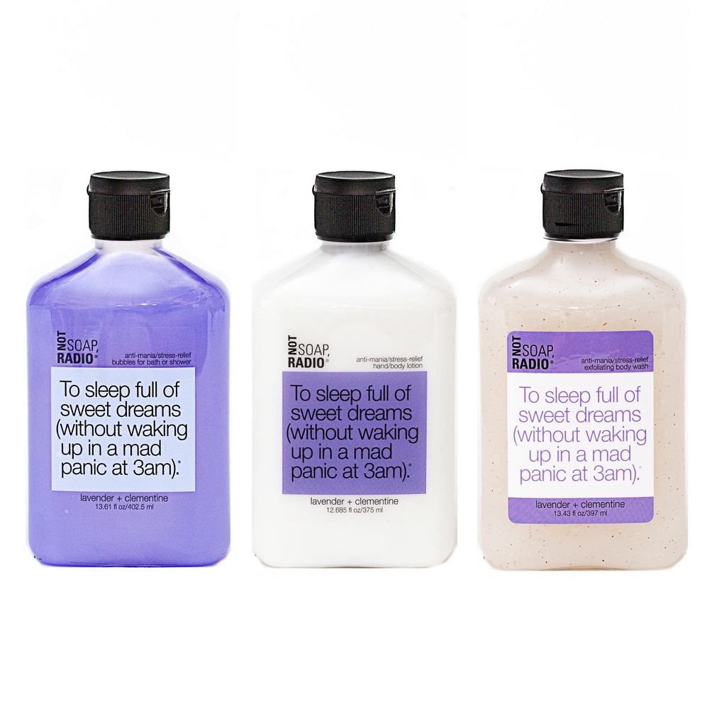 Trio: To sleep full of dreams: bubbles for bath/shower, hand/body lotion and exfoliating body wash - Not Soap Radio Trio