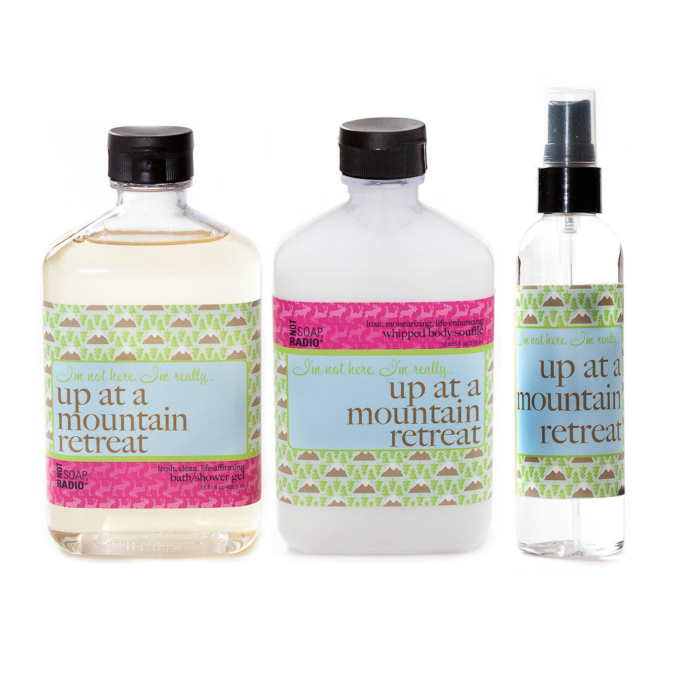 I'm not here, I'm really...up at a mountain retreat: bath/shower gel, body souffle & dry oil perfume - Not Soap Radio Trio