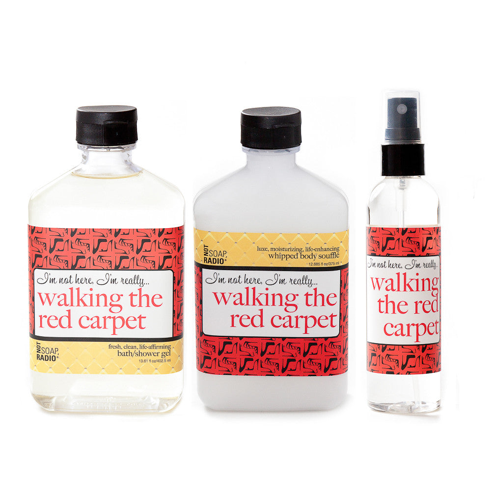 I'm not here, I'm really...walking the red carpet: bath/shower gel, body souffle & dry oil perfume - Not Soap Radio Trio
