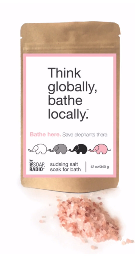 Think globally, bathe locally effervescent foaming salt soak - Not Soap Radio Bath/Shower gel