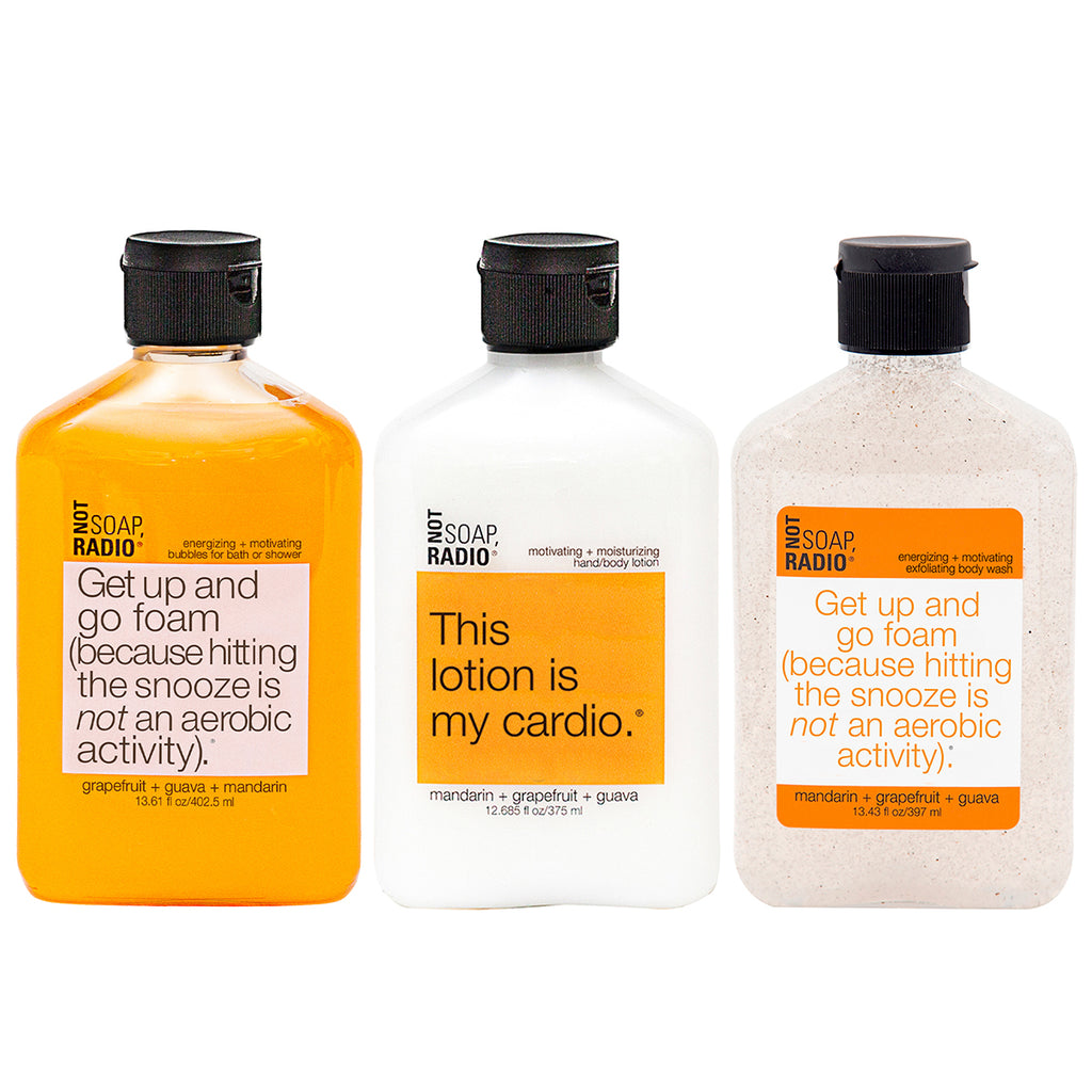 Trio: Get up and go foam: bath/shower gel, hand/body lotion and exfoliating body wash - Not Soap Radio Trio
