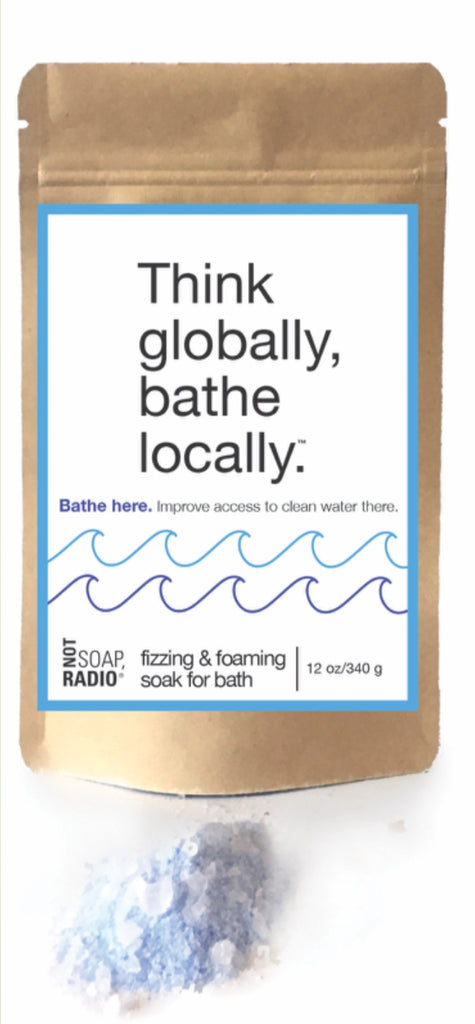 Think globally, bathe locally effervescent foaming bath soak