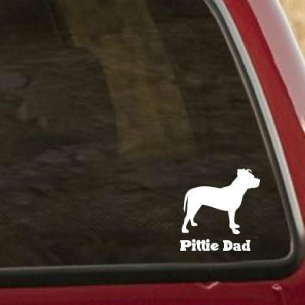 Pittie Dad Silhouette Vinyl Car Window Decal