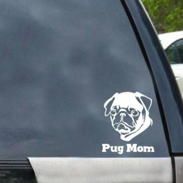 Pug Mom Detailed Vinyl Car Window Decal
