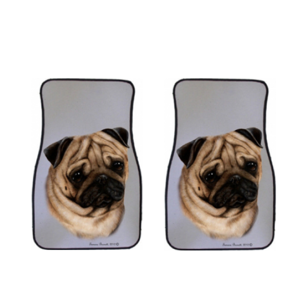 Pug Car Mats (Set of 2)
