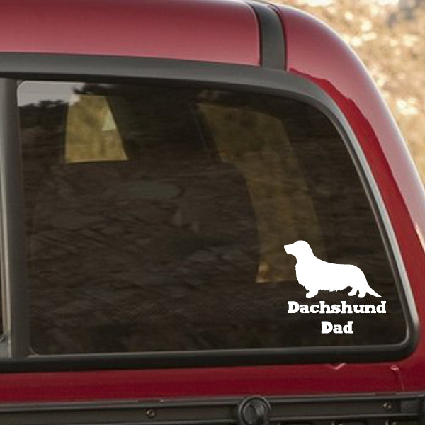 Longhaired dachshund dad vinyl car window decal