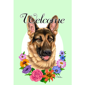 Tomoyo Pitcher Welcome Flowers Garden Flag - German Shepherd