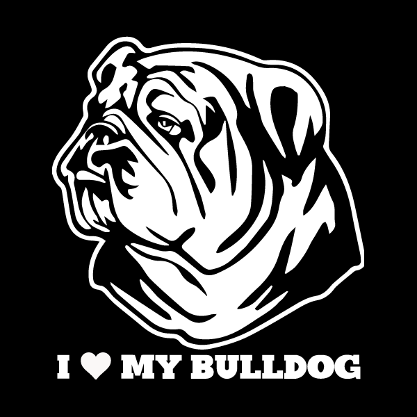 I Love My Bulldog Vinyl Car Window Sticker