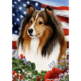 Patriotic Shetland Sheepdog Flag