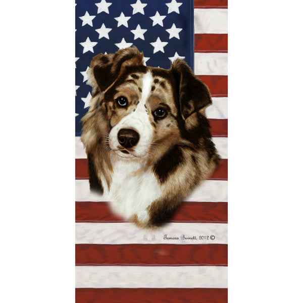 Patriotic Australian Shepherd Beach Towel