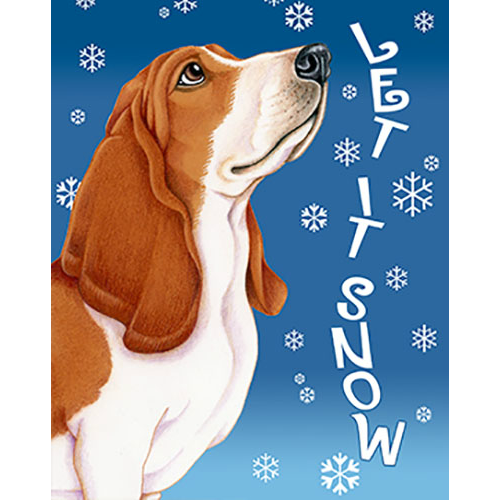 Let It Snow Basset Hound Flag